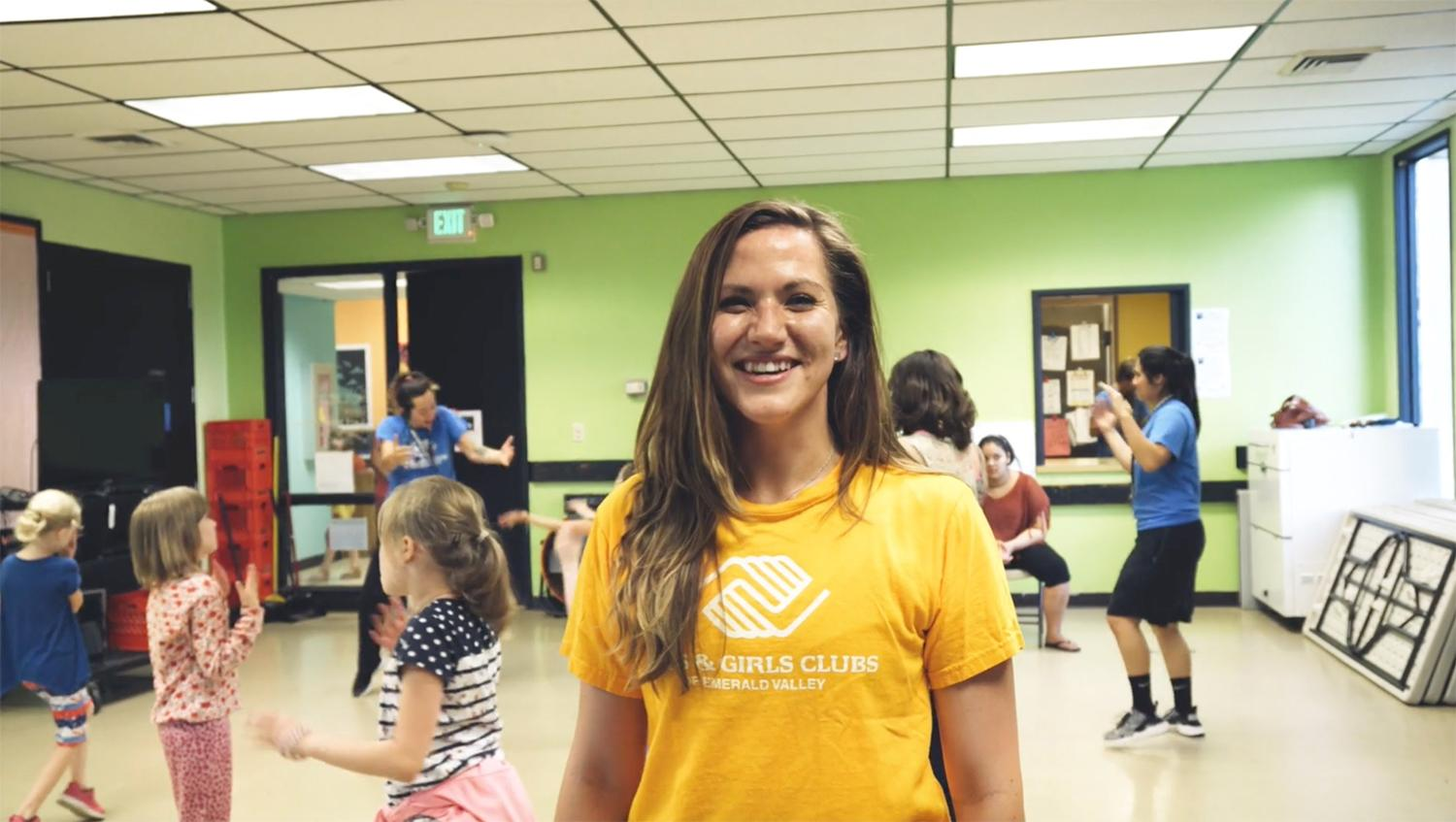 Alyssa volunteers teaching dance with the Boys & Girls Club.